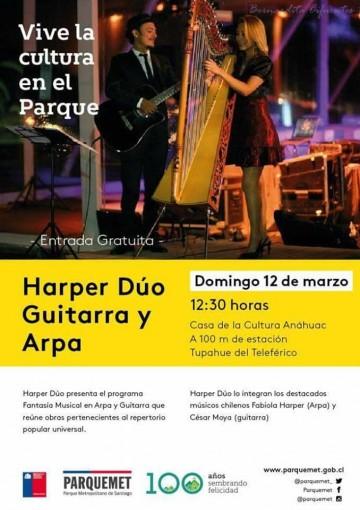 VIVE LA CULTURA EN EL PARQUE.  PRÓXIMO DOMINGO 12 DE MARZO, FANTASÍA MUSICAL EN ARPA Y GUITARRA, 12:30 HORAS.  CASA DE LA CULTURA ANAHUAC,  A CIEN METROS DE ESTACIÓN TUPAHUE DEL TELEFÉRICO. ENTRADA GRATUITA.